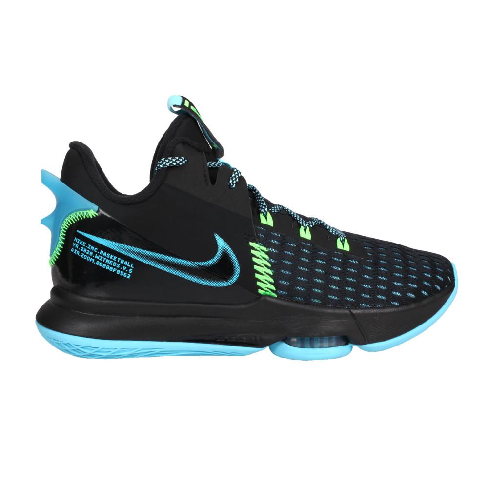 nike lebron witness v ep 男籃球鞋-氣墊 高筒 避震 黑藍螢光綠