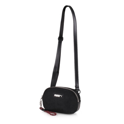 PUMA 小側背包-斜背包 肩背包 隨身包 黑銀 (8.4折)