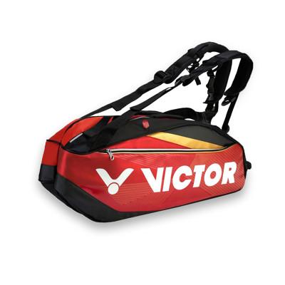 VICTOR 12支裝羽拍包-裝備袋 雙肩包 後背包 手提袋 羽球 勝利 紅黑金白 (6.8折)