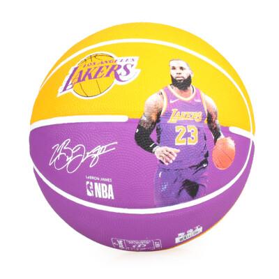 SPALDING 湖人-詹姆士 LEBRON 籃球 #SPA83848-附球針 7號球 黃紫 (10折)