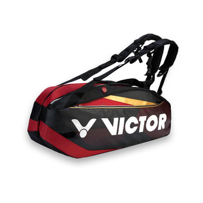 VICTOR 12支裝羽拍包-裝備袋 雙肩包 後背包 手提袋 羽球 勝利 黑紅金白 (6.8折)