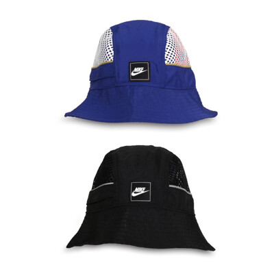 NIKE 運動帽-帽子 遮陽 防曬 漁夫帽 藍銀 (9.1折)