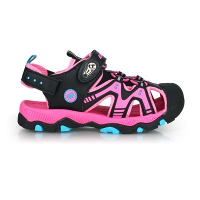 LOTTO 男女童磁扣護趾運動涼鞋-反光 休閒 海邊 戲水 拖鞋 粉紅黑藍 (9.1折)
