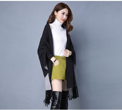 法式韓版針織流蘇披肩斗篷外套 (5.5折)