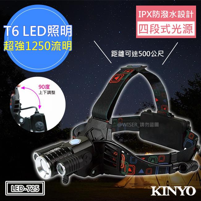 kinyo超亮三燈頭led旋轉頭燈(led-725)可達500公尺