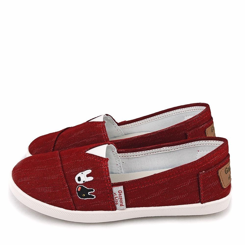 鞋子部落 麗莎與卡斯柏低調質感休閒鞋 親子款 gl7629 黑 / 紅 (共二色)