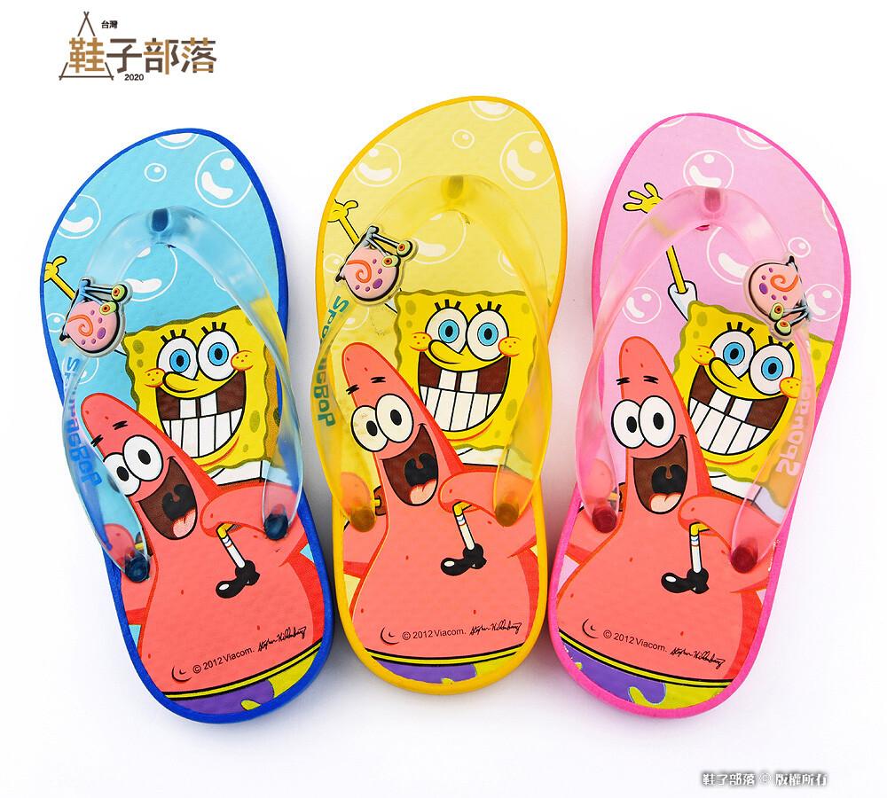 鞋子部落 海綿寶寶 夾腳拖 sg1241-粉/藍/黃 (零碼出清價)