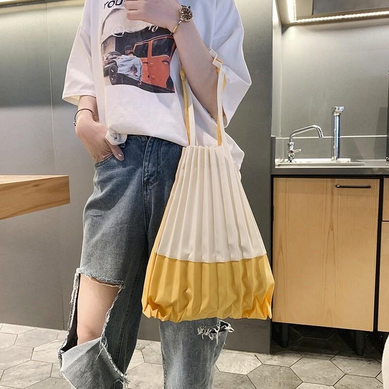 新流行款手工褶皺購物袋