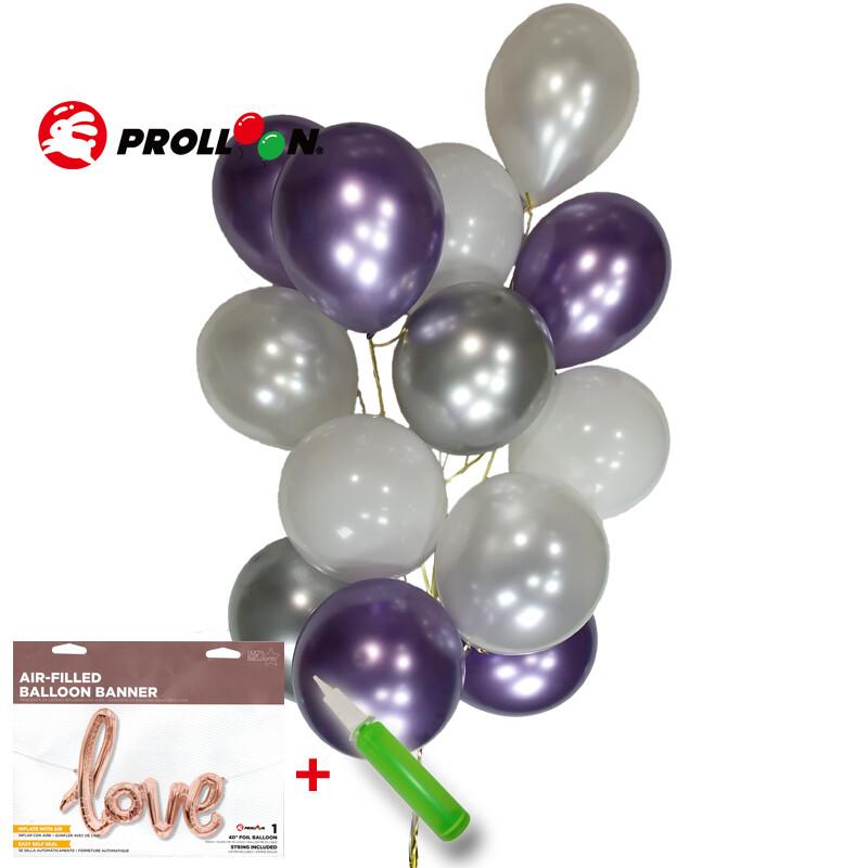 大倫氣球氣球花環 不規則氣球球柱 金屬氣球款 紫色 氣球佈置 台灣製造 安全無毒