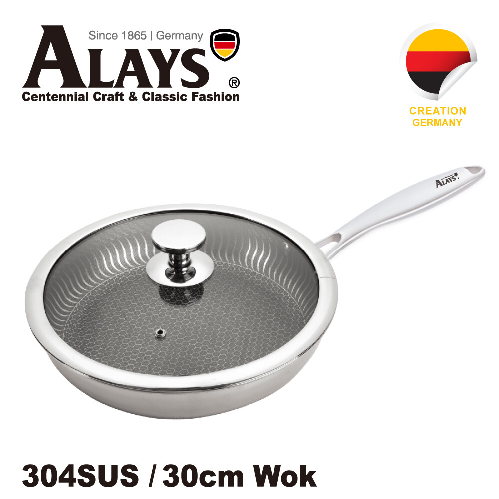德國alays雅樂氏鈦黑蜂巢式30cm不鏽鋼平底鍋(als-sss300a1)