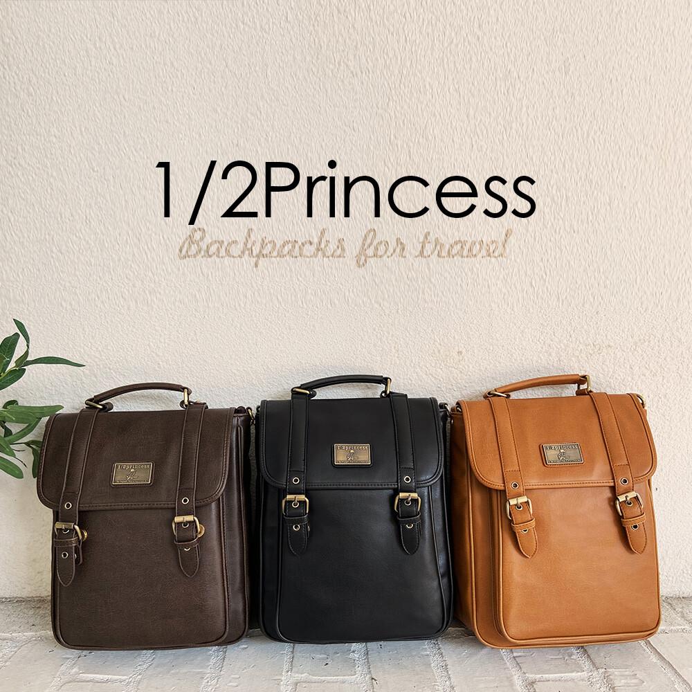 1/2princess全新三代升級版復古皮革雙扣直式3way後背包-3色[a2744-1]