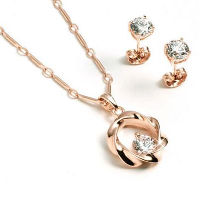 DUKEDOM ~擁心~玫瑰金晶鑽項鍊送同款 耳環