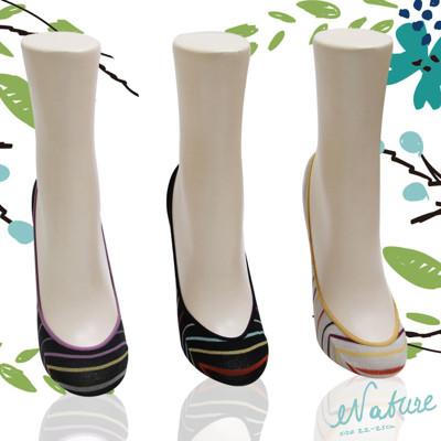 自然系幸運彩條止滑女襪套-S1305 (5.6折)