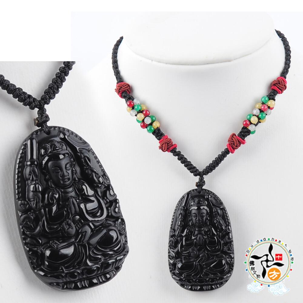 千手觀音黑曜岩中國結項鍊 十方佛教文物