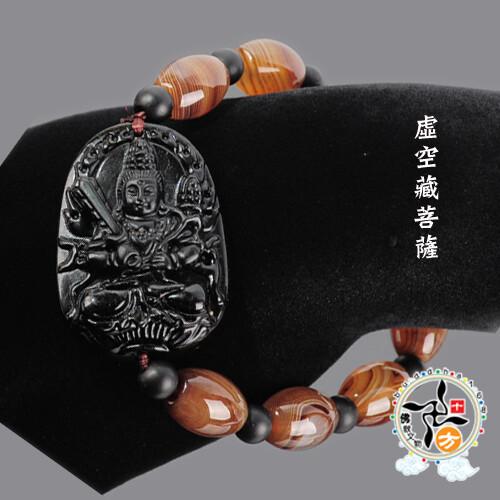 虛空藏菩薩黑曜岩+玉髓手珠+平安加持小佛卡   十方佛教文物