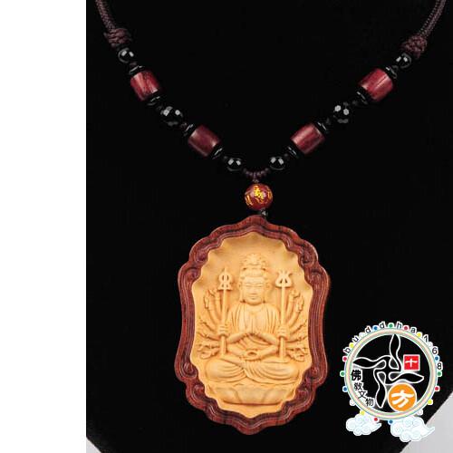 千手觀音{黃楊木}中國結項鍊十方佛教文物