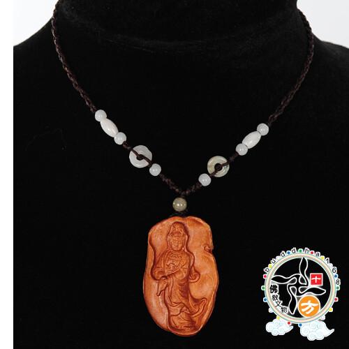自在觀音(桃木)中國結項鍊十方佛教文物