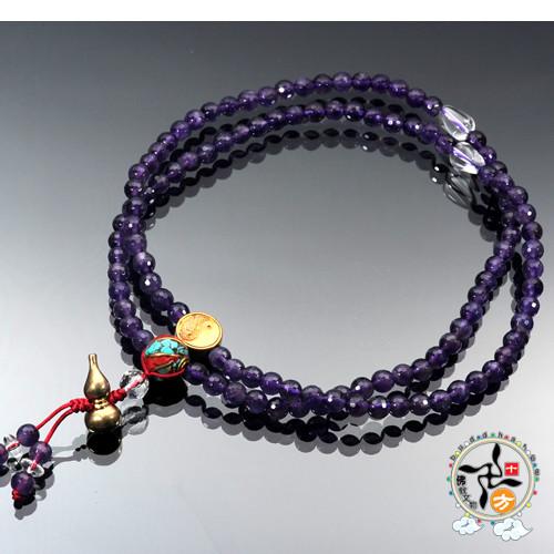 葫蘆(銅鎏金)&紫晶{晶鑽}108念珠6mm