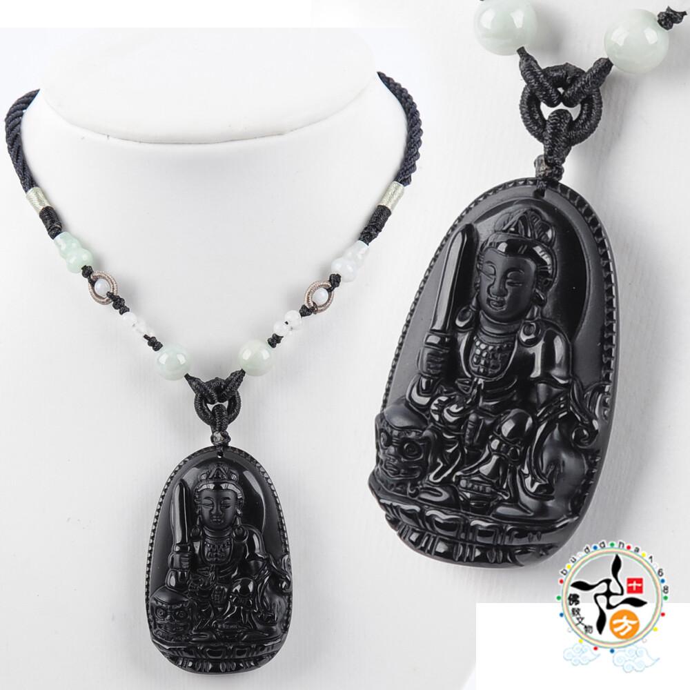 文殊菩薩 黑曜岩中國結項鍊 十方佛教文物