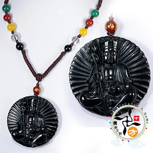 地藏菩薩{黑曜岩}項鍊中國結項鍊十方佛教文物