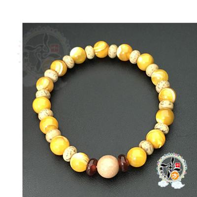 星月菩提+黃金硨磲手珠+精美加持保平安小佛卡7 mm (9折)