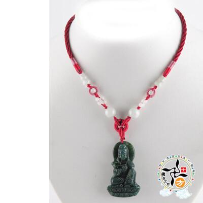 白衣觀音(七彩玉)中國結項鍊【十方佛教文物】 (6.3折)