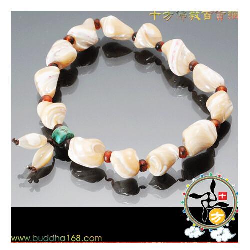 紅玉髓&綠松石&天然硨磲手珠+精美加持保平安小佛卡(1.5*1公分)