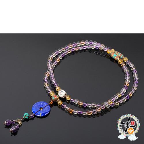 青金石{平安扣}&紫黃晶108念珠8mm