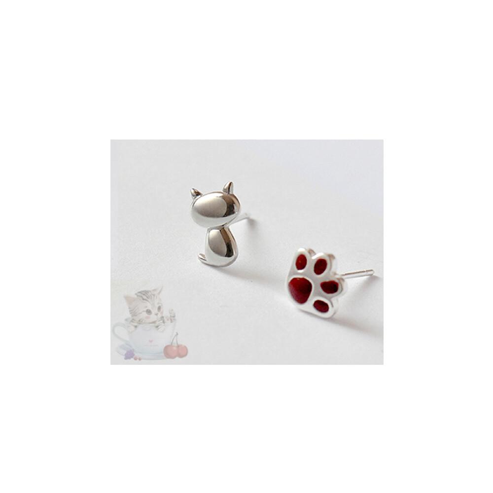 貓與掌 925純銀 耳針1對