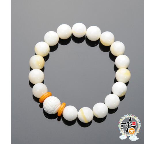 六字真言{硨磲}+金線硨磲手珠10mm  +平安加持小佛卡 十方佛教文物