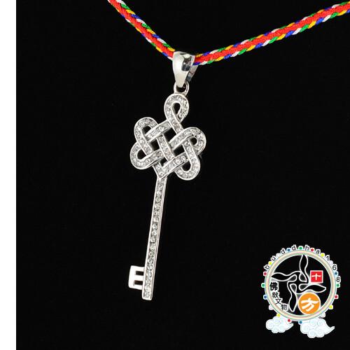 吉祥之鑰{鋼鑲鑽}項鍊 +3d小佛卡十方佛教文物