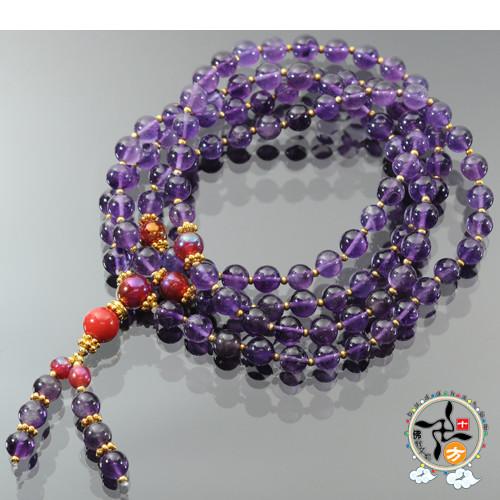 印度紫晶108念珠8mm