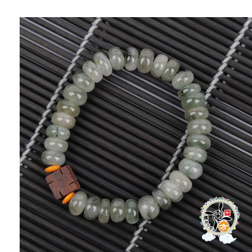 卍(黑檀) 綠髮晶 手珠+精美加持保平安小佛卡8*5mm