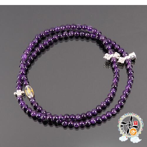 金剛鈴杵+紫晶108念珠6mm +平安加持小佛卡 十方佛教文物