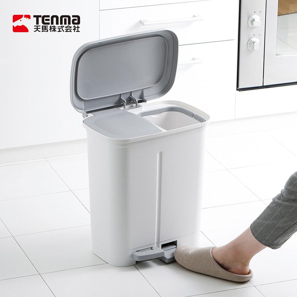 日本天馬dustio分類腳踏抗菌雙蓋垃圾桶(寬型)-20l