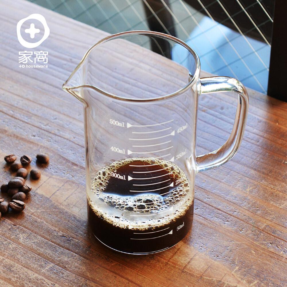 +o家窩悶蒸十五附刻度耐熱玻璃咖啡公杯量壺-500ml