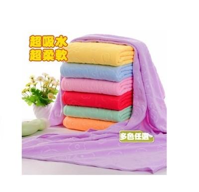 小熊壓花柔軟超細纖維浴巾70*140不掉色不掉毛 浴巾 (5折)