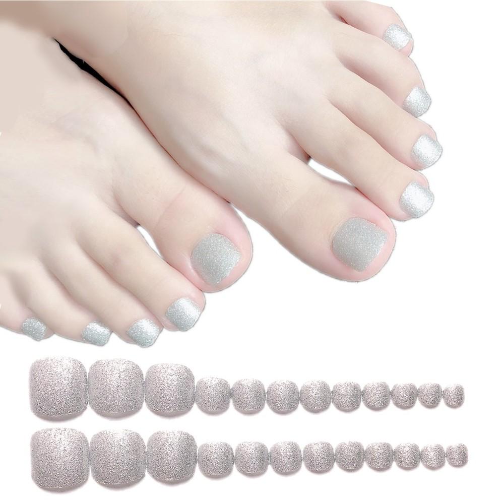 美甲 閃銀腳趾美甲 貼片假指甲 腳指貼片 nf140