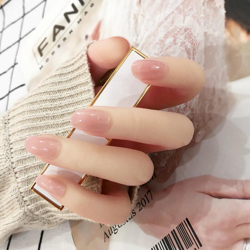 秒貼甲片 蜜桃粉色 指甲貼片純色圓頭小甲型 nwp0002