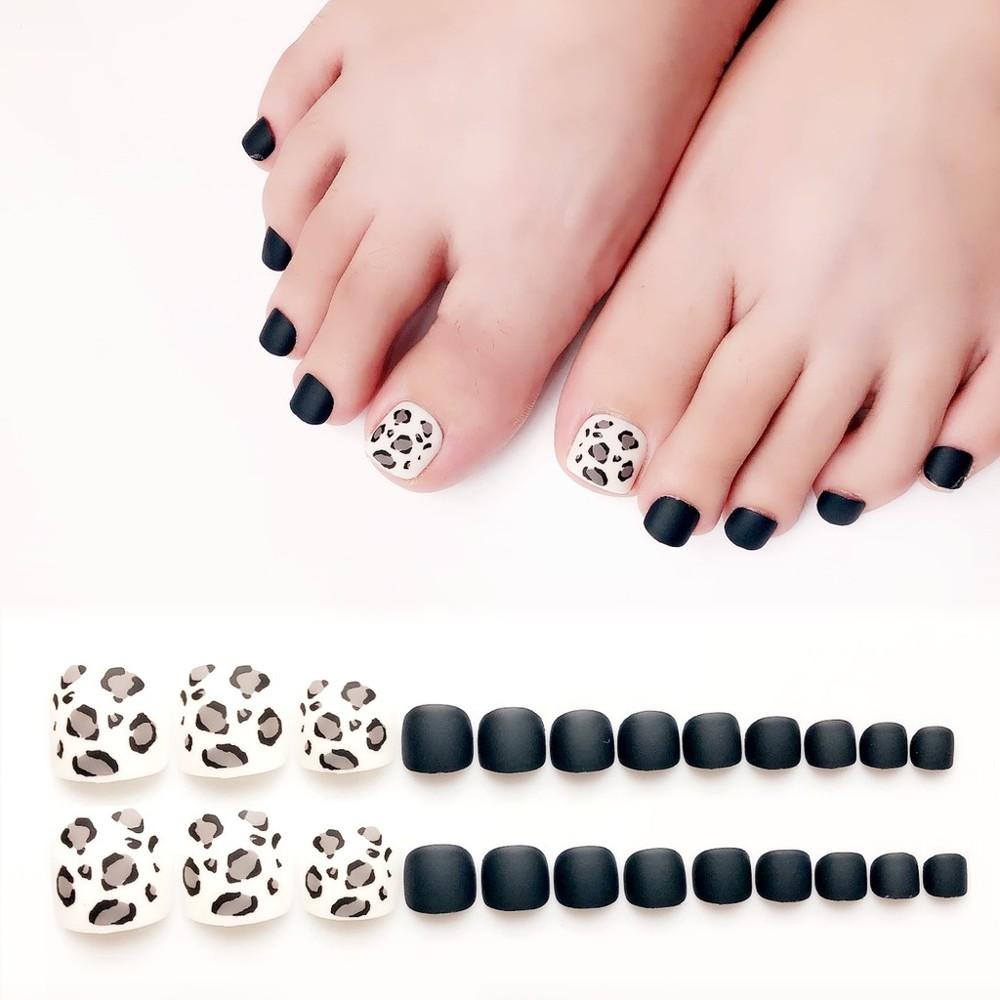 美甲 深藍白豹紋 磨砂 可愛腳趾甲貼片甲片成品腳甲片假指甲 nf100