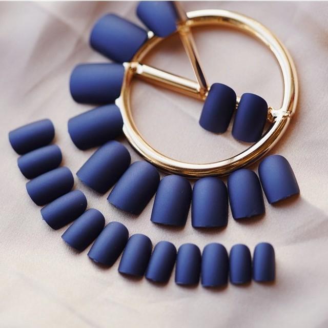 氣質磨砂深藍 美甲假指甲貼片成品 nc407