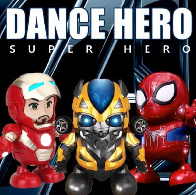 【網路爆紅】曼威鋼鐵人/蜘蛛人/大黃蜂 (發光跳舞機器人玩具 聲光玩具) (4.2折)