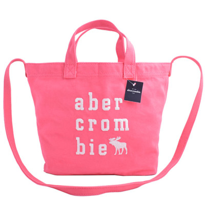 全新Abercrombie & Fitch麋鹿刺繡logo手提/斜背兩用帆布包-粉桃 (5折)