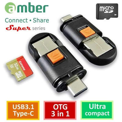 amber micro SD記憶卡 / USB 3.1 A公 / Type-C公三合一OTG讀卡機 (5.3折)