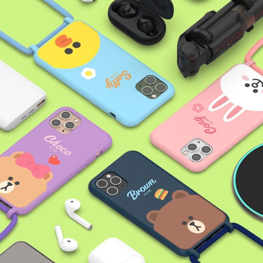 line friends 仿液態矽膠掛繩手機殼  手機殼 帶掛繩 tpu 適用iphone12