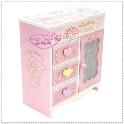 小花花日本精品♥ 美樂蒂 飾品盒 木製珠寶盒 收納盒附鏡 12033409 (9.1折)