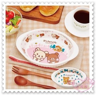 ♥小花花日本精品♥拉拉熊 陶瓷盤 附湯匙 叉子 木製 陶瓷盤餐具組 藍色 11177401 (4.8折)