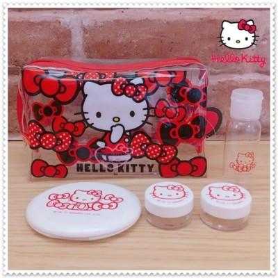 小花花日本精品♥Hello Kitty透明 防水 紅色 化妝包 旅行組 42212409 (6.3折)