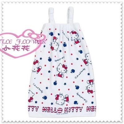 小花花日本精品♥ Hello Kitty 浴巾 浴裙 鬆緊帶浴袍肩帶式白色側姿英倫風34055007 (6折)