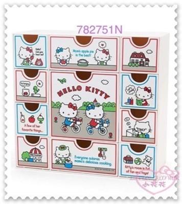 小花花日本精品♥Hello Kitty收納盒 小物盒 桌上置物盒 大臉 好朋友 腳踏車 電話 11抽 (5折)